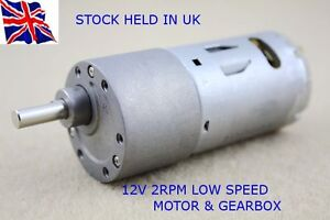 12V DC - HIGH TORQUE High power - Reversable  Electric Motor 2 RPM & Gear-Box