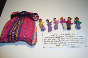 Set-of-6-Small-Handmade-Guatemalan-Worry-Dolls-People-with-bag-uk-seller-WDBN