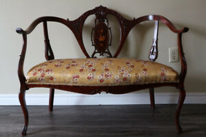 ANTIQUE VICTORIAN MAHOGANY INLAID SALON SETTEE