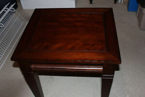 2 matching wood side tables
