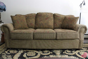 Comfy sofa with matching cushions, non-smoking and no pets home