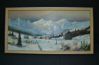 "John Greco Original Oil Canvass Canadian Rockies 23""X43"" Framed"