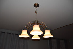 4 light Chandelier + matching pendant(white glass and stainless)