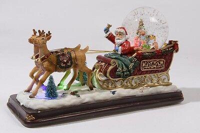 BABBO NATALE CON SLITTA A LED 31 CM Addobbi Decorazioni Santa Claus 150 481367 usato  Capanne