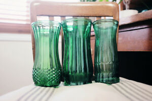 Vintage Antique Green Flower Vases - Wedding Decorations - Bride