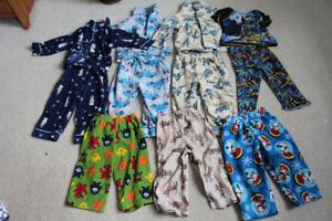 Lot of 4 Pairs of Boys Pajamas Size 2T plus 3pair Fleece Bottoms
