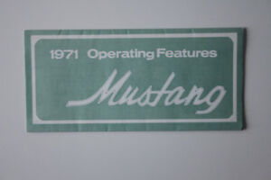 FORD MUSTANG 1971 Operating features and Car Care - English - Ca