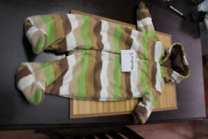 Striped fleece snow outfit with ears (3 months)