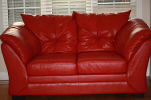 Max Faux Leather Loveseat (Sofa) - Red -Brand New Look !!