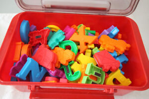 LARGE BOX OF MAGNETIC SHAPES NUMBERS AND LETTERS