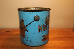 Old Antique Large Blue Quebec Honey Tin London Ontario image 5
