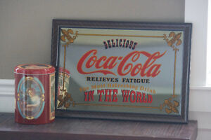 Coca-Cola - Vintage Coca-Cola mirror and Tin