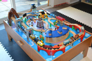 Train Table with wooden Thomas & Friends and other trains
