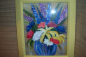 Pretty Vintage Framed Flower Painting By M.L. Brown