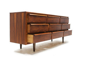 Mid Century Walnut 9 Drawer Lowboy Dresser