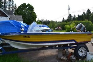 14'  boat with 50 HP mercury outboard motor $1200.00