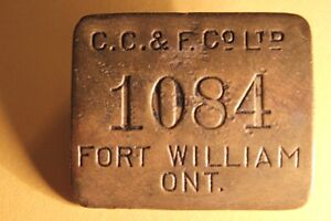 Old FORT WILLIAM ID Metal Tag / Badge (VIEW OTHER ADS)