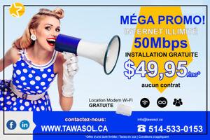 Promo: Internet FIBE 50Mg illimité/ installation & Modem Gratuit