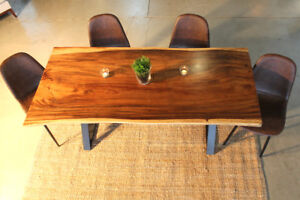 wooden table, suar, acacia table, modern rustic table, live edge