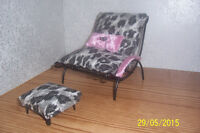 Hand Made Lounge and Ottoman Fits 12 in Dolls (Barbie, Monster)