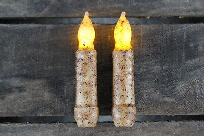 TWO Primitive Country Burnt Ivory 4.5
