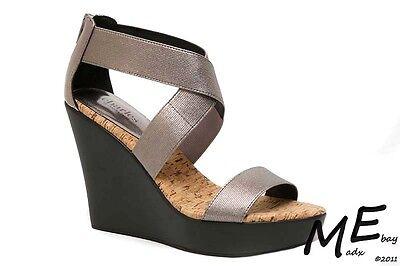 New Charles by Charles David Pauline Metallic Women Wedge Sandals Sz