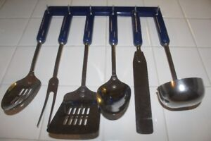 New Blue Kitchen Utensils & Rack
