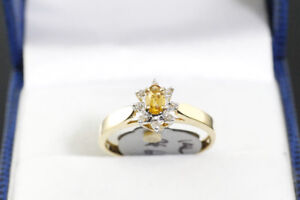 NEW STAMPED SOLID 14K. GOLD. DIAMOND & CITRINE RING FOR SALE