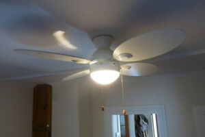 ceiling fans (2 whites, 2 wooden). 50$ each.