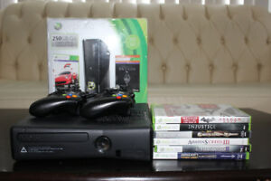 Xbox 360 Slim 250GB with two wireless controllers and 6 games