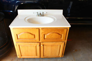 Bathroom Vanity c/w one piece sink and taps