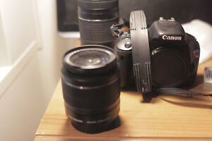 Canon t2i two lenses and bag.