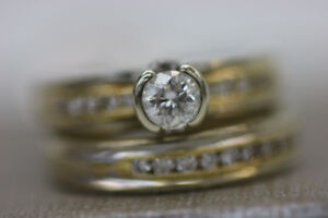 **BEAUTIFUL** 14-18KT engagement ring & wedding band (#14611)