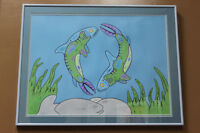 Original acrylic on paper native painting by David Morrisseau Winnipeg Manitoba Preview