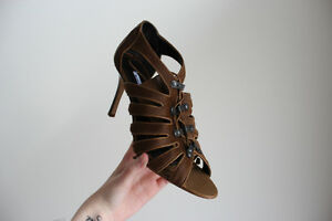 MANOLO BLAHNIK PONY HAIR LEATHER CUT OUT LACE UP SANDAL HEELS