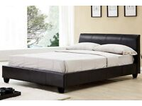 BLACK AND BROWN COLOURS-- BRAND NEW DOUBLE AND KING LEATHER BED + 1000 LUXURY POCKET SPRUNG MATTRESS