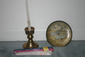 Brass Candle Holder and Brass Plate with Whales