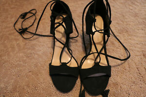 Brand New Black Strappy Heels- Leg Tie Kitchener / Waterloo Kitchener Area image 2