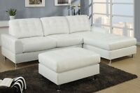 NEW, Tufted Leather Sectional, 3 Colours! Same Day Delivery
