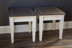 Refinished Matching Wood End Table Set