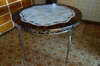 Retro dining table with extension + 4 chairs