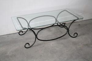 Black Iron & Beveled Glass Patio Table