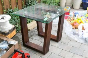 Side table- glass top with wood legs