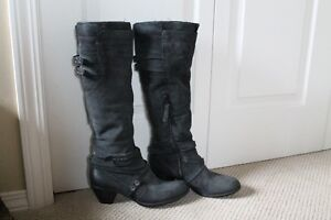Charcoal Suede Leather Dress Boots