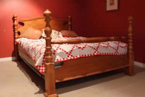 Hardwood maple dresser and matching bed with matress