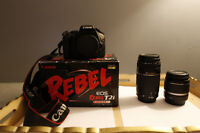 Canon Rebel T2i + 2 canon lenses- Barely used, in MINT CONDITION