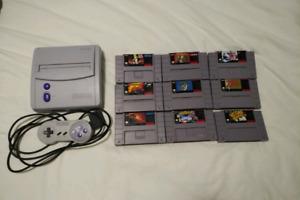 Super Nintendo and 9 games