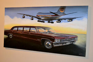 GRANDE TOLE 1965 CHEVROLET LIMOUSINE IBERIA BOEING 747 PAINTING