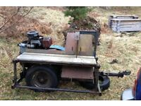 Saw bench towable twin lister diesel powered