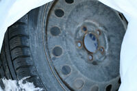 """18"""" rims with used 245/4SR18 radial snow tires"""